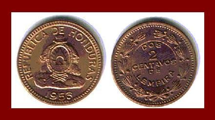HONDURAS 1956 2 CENTAVOS BRONZE COIN KM#78 Central America ~ BEAUTIFUL!