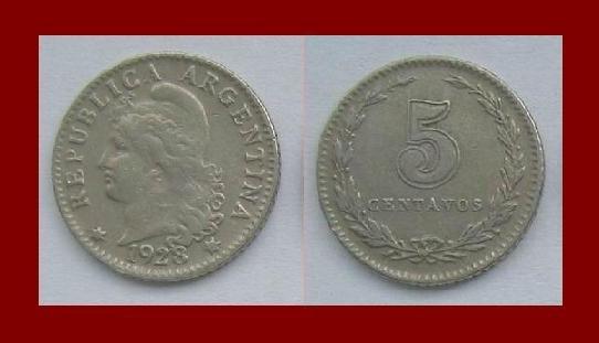 ARGENTINA 1923 5 CENTAVOS COIN KM#9 South America