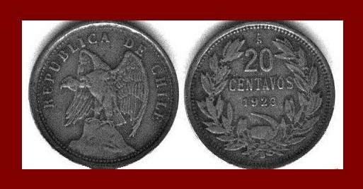 CHILE 1923 20 CENTAVOS COIN KM#167.1 South American Condor ~ SCARCE!