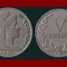 COLOMBIA 1938 5 CENTAVOS COIN KM#199 South America ~ SCARCE!