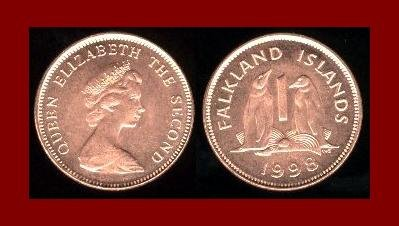 FALKLAND ISLANDS 1998 1 PENNY COIN KM#2a South American Gentoo Penguins ~ BEAUTIFUL!