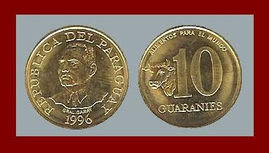 FAO ISSUE - PARAGUAY 1996 10 GUARANIES COIN KM178 South America Spanish Conquistador AU BEAUTIFUL!