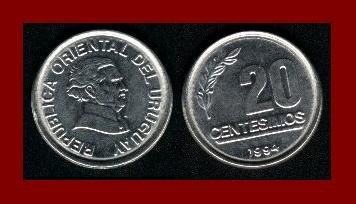 URUGUAY 1994 20 CENTESIMOS COIN KM105 South America ~ AU ~ BEAUTIFU!