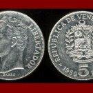 VENEZUELA 1989 5 BOLIVARES COIN Y#53a.1 South America El Libertator Simon Bolivar