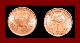MALAYSIA 2000 1 SEN COIN KM#49 EURASIA - Malaysian Drum & Hibiscus Flower ~ AU ~ BEAUTIFUL!