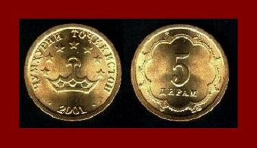 TAJIKISTAN 2001 5 DIRAMS COIN KM#2 EURASIA ~ AU ~ BEAUTIFUL COIN!