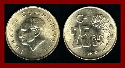 TURKEY 1996 25 BIN LIRA COIN KM#1041 EURASIA - Mustafa Kemal Atat