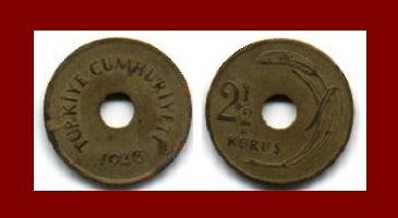 TURKEY 1948 2 1/2 KURUS BRASS COIN KM#885 AH1366 EURASIA
