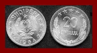 ALBANIA 1964 20 QINDARKA COIN KM#41 Communist Europe