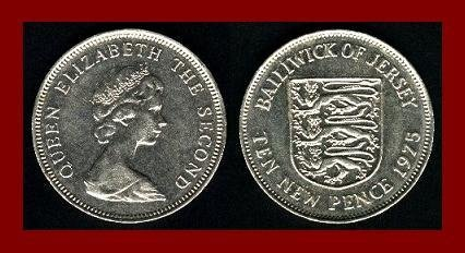 BAILIWICK OF JERSEY 1975 10 NEW PENCE COIN 28.5mm KM#33 Europe ~ BEAUTIFUL!