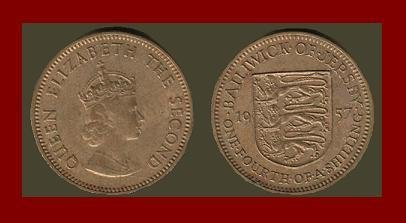BAILIWICK OF JERSEY 1957 1/4 SHILLING COIN KM#22 Europe
