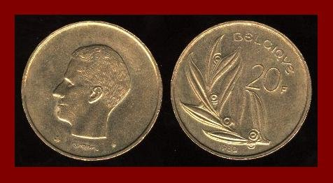 BELGIUM 1982 20 FRANCS BRONZE COIN KM#159 Europe - BELGIQUE French Legend - Mistletoe