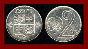 CZECH SLOVAK FEDERAL REPUBLIC CSFR 1991 2 KORUNY COIN KM#148 Europe SCARCE! LOW MINTAGE! BEAUTIFUL!