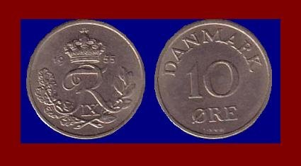 DENMARK 1955 10 ORE COIN KM#841.1 Europe - King Frederik IX ~ BEAUTIFUL!
