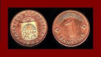 LATVIA 1992 1 SANTIMS COIN KM#15 Europe ~ Post Communism ~ BEAUTIFUL!