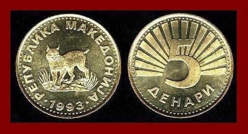 MACEDONIA 1993 5 DENARI BRASS COIN KM#4 European Lynx ~ AU ~ BEAUTIFUL COIN!