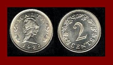 MALTA 1977 2 CENTS COIN KM#9 Europe Amazon Queen Penthesilea Maltese Rock Century Flowers BEAUTIFUL!
