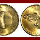 SLOVENIA 1996 1 TOLAR BRASS COIN KM#4 Europe - Danube Salmon Fish - XF - LOW MINTAGE! ~ BEAUTIFUL!