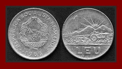 ROMANIA - TRANSYLVANIA 1966 1 LEU COIN KM#95 Europe - Romanian & Tractor ~ BEAUTIFUL!
