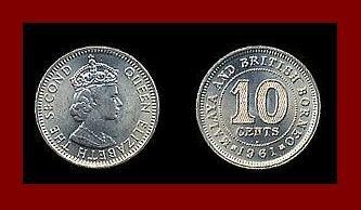 MALAYA AND BRITISH BORNEO 1961 10 CENTS KM#3 Southeast Asia - SCARCE!