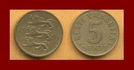 ESTONIA 1991 5 SENTI BRASS COIN KM#21 Europe - Three Lions ~ BEAUTIFUL!