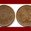 FINLAND 1966 5 PENNIA COPPER COIN KM#45 Europe