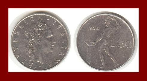 ITALY 1956 50 LIRE STEEL COIN KM#95 Europe ~ BEAUTIFUL!