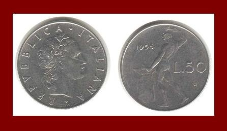 ITALY 1955 50 LIRE STEEL COIN KM#95 Europe ~ BEAUTIFUL!