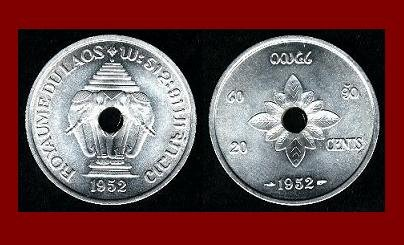 LAOS 1952 20 CENTS COIN KM#5 ASIA ~ Mythical ERAWAN White Elephant ~ BEAUTIFUL!