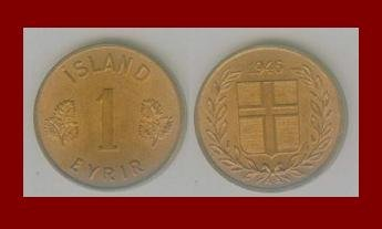 ICELAND 1946 1 ISLAND EYRIR BRONZE COIN KM#8 Europe - Birch Leafs & Cross!