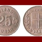 ICELAND 1966 25 ISLAND AUROR COIN KM#11 Europe - Birch Leafs