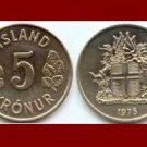 ICELAND 1975 5 KRONUR COIN KM#18 Europe - Birch Leafs ~ BEAUTIFUL!