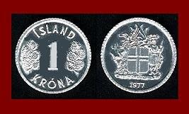 ICELAND 1977 1 KRONA COIN KM#23 Europe - Birch Leafs ~ BEAUTIFUL!