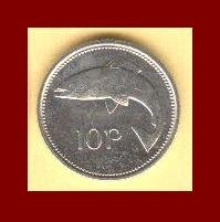IRELAND 1994 10 PENCE COIN KM#29 Europe - Irish Harp Lire & Atlantic Salmon Fish ~ BEAUTIFUL!