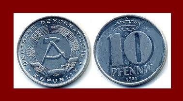EAST GERMANY 1981(A) 10 PFENNIG KM#10 Europe - East Berlin City Seal - Communist Germany