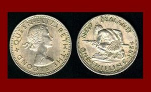 NEW ZEALAND 1964 1 SHILLING COIN KM#9a Oceania ~ Queen Elizabeth II ~ Maori Warrior & Spear