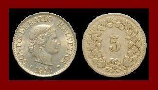 SWITZERLAND 1947(B) 5 RAPPEN COIN KM#26 Europe - Wreath of Edelweiss - SCARCE!