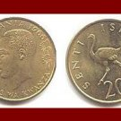 TANZANIA 1966 20 SENTI COIN KM#2 Ostrich Swahili