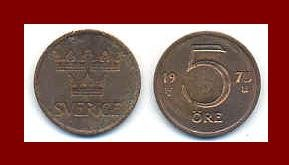 SWEDEN 1972 5 ORE BRONZE COIN KM#845 Europe - King Gustaf VI