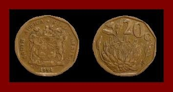 SOUTH AFRICA 1994 20 CENTS COIN KM#136 AFRICAN SUID TRIBAL LEGEND King Protea Flower