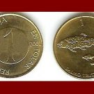 SLOVENIA 2001 1 TOLAR BRASS COIN KM#4 Europe - Danube Salmon Fish - XF - BEAUTIFUL!