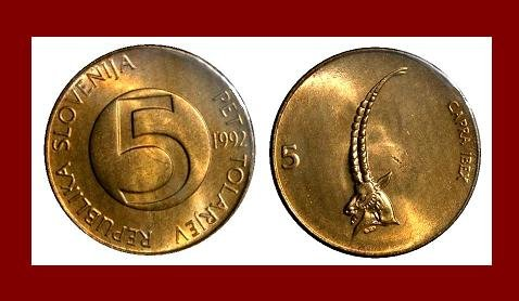 SLOVENIA 1992 5 TOLARJEV BRASS COIN KM#6 Europe - Ibex Goat - BEAUTIFUL COIN!