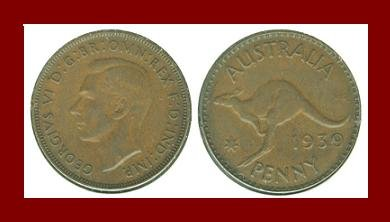 AUSTRALIA 1939(m) 1 PENNY BRONZE COIN KM#36 Oceania Kangaroo ~ WWII Coin