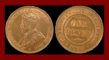 AUSTRALIA 1923(m) 1 PENNY BRONZE COIN KM#23 Oceania COMMONWEALTH