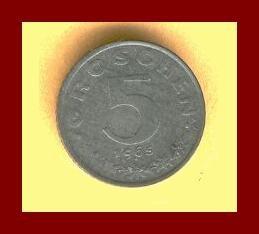 AUSTRIA 1965 5 GROSCHEN COIN KM#2875