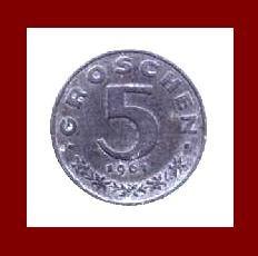 AUSTRIA 1963 5 GROSCHEN COIN KM#2875