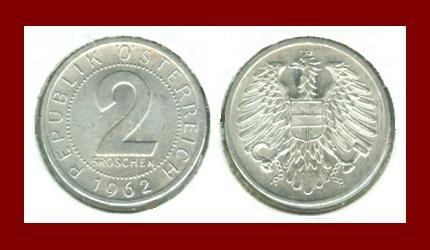 AUSTRIA 1962 2 GROSCHEN COIN KM#2876 - VF - BEAUTIFUL!