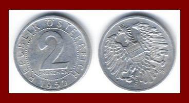 AUSTRIA 1950 2 GROSCHEN COIN KM#2876