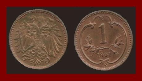 AUSTRIA 1902 1 HELLER BRONZE COIN KM#2800 - Habsburg Empire - XF - BEAUTIFUL!