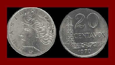 BRAZIL 1970 20 CENTAVOS COIN KM#579.1 South America - Oil Well Tower